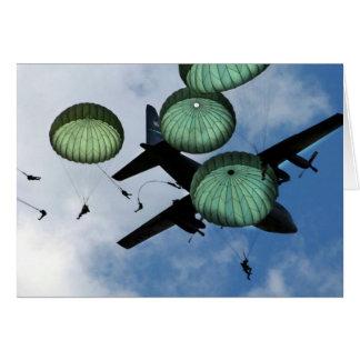 Misión total del salto, paracaídas, ejército ameri tarjeta de felicitación