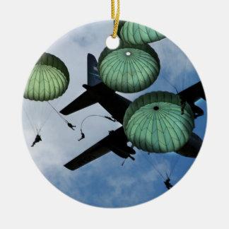 Misión total del salto, paracaídas, ejército ornamentos de navidad