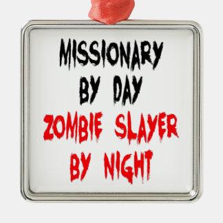 Misionario del asesino del zombi ornamento para arbol de navidad