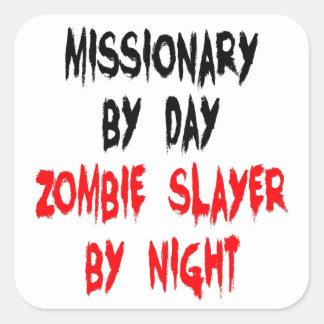 Misionario del asesino del zombi calcomanía cuadradas personalizadas