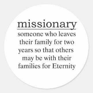 Misionario dos años etiqueta redonda