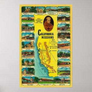 Misiones españolas de la demostración de Californi Póster