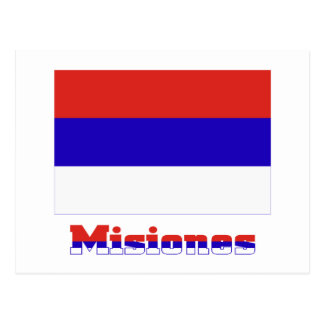 Misiones flag with name postcard