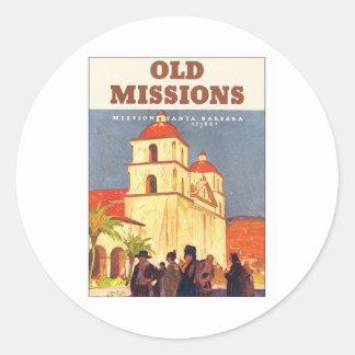 Misiones Santa Barbara del vintage Etiqueta Redonda