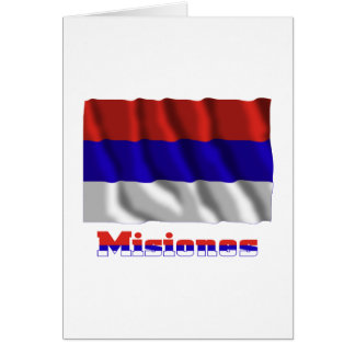 Misiones waving flag with name card