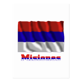 Misiones waving flag with name post cards