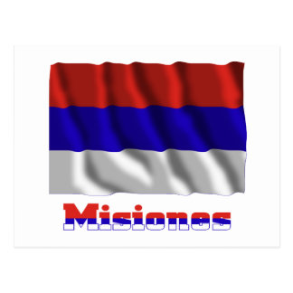 Misiones waving flag with name postcards