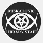 MISKATONIC LIBRARY STAFF CLASSIC ROUND STICKER
