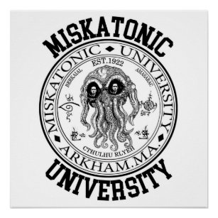 miskatonic university posters photo prints zazzle MA Hua miskatonic university cthulhu hp lovecraft poster