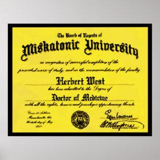 Miskatonic University Diploma Herbert West Poster