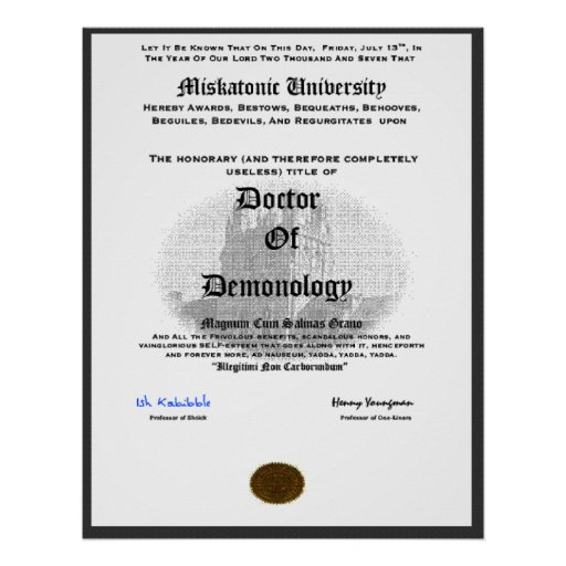 Miskatonic University Doctor of Demonolgy Poster