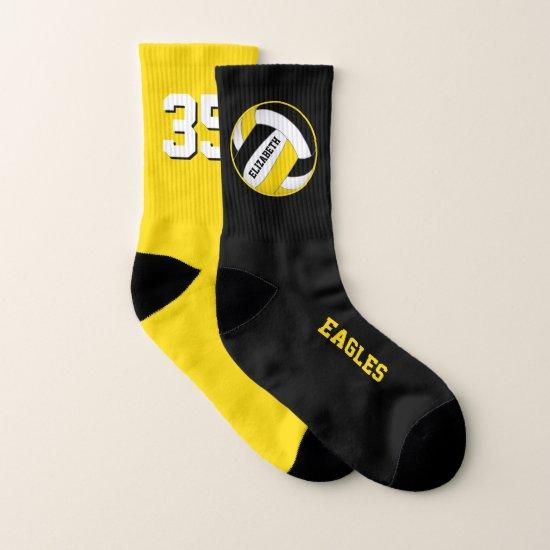 mismatched black yellow girls volleyball team socks