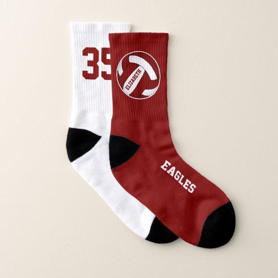 mismatched maroon white girls volleyball team socks