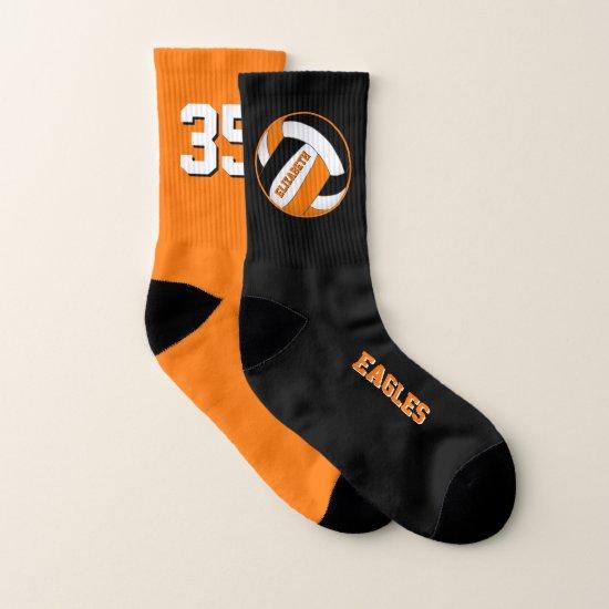 mismatched orange black girls volleyball team socks