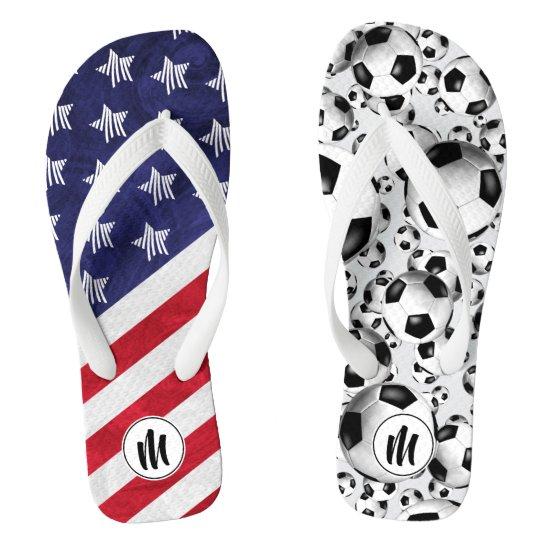 mismatched soccer flip flops w USA flag monogram