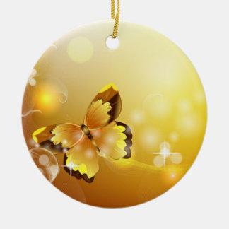 Mismo amarillo, mariposa y burbujas adorno redondo de cerámica