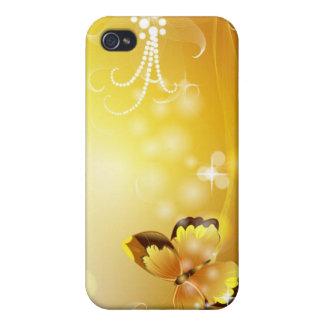 Mismo amarillo mariposa y burbujas iPhone 4 coberturas