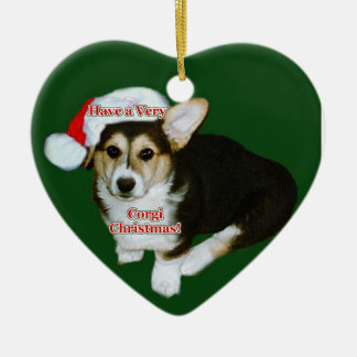 Mismo navidad del Corgi - ornamento del corazón de Ornamentos De Reyes Magos