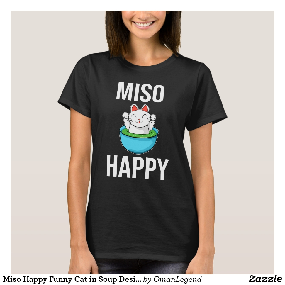 Miso Happy Funny Cat in Soup Design T-Shirt - Best Selling Long-Sleeve Street Fashion Shirt Designs