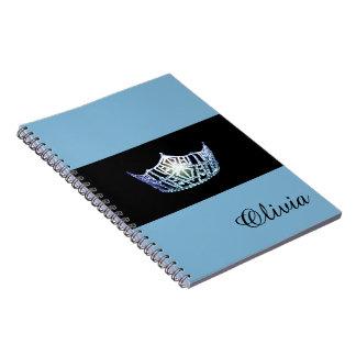 Miss America Baby Blue Crown Notebook- Custom Name Notebook