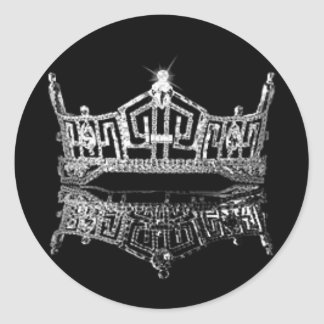 Miss America Crown Classic Round Sticker