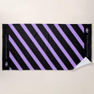 Beach Themed Miss America Custom Stripe Lilac Crown Beach Towel