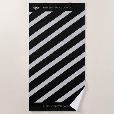 Beach Themed Miss America Custom Stripe SLVR Crown Beach Towel