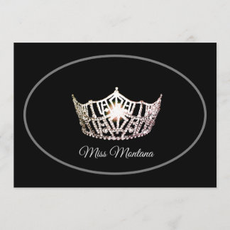 Miss America Flat Note Card-Silver Crown/Black