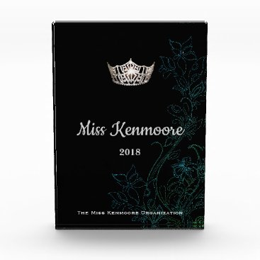Hawaiian Themed Miss America Floral Silver Crown Acrylic Award