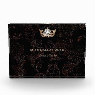 Miss America Flourish Gold Crown Acrylic Award