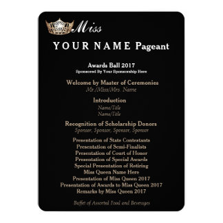 Miss America Gold Crown Awards Ball Program Card