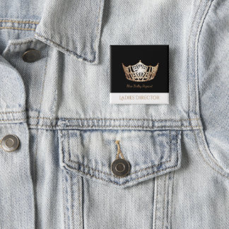 Miss America Gold Crown Custom Button Pin
