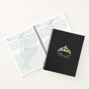 USA Themed Miss America Gold Tiara Custom Recipe Notebook