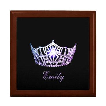 Hawaiian Themed Miss America Lilac Crown Personal Name Jewerly Box