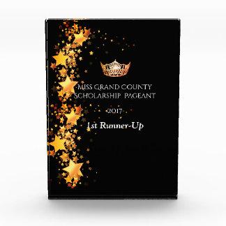 Miss America Orange Crown and Stars Acrylic trophy Award