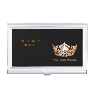 Professional Business Miss America Peach Crown Business Card Holder