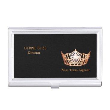 Hawaiian Themed Miss America Peach Crown Business Card Holder
