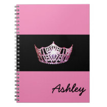 Miss America Pink Crown Notebook Custom Name