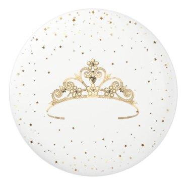 USA Themed Miss America Princess Crown Ceramic Cabinet Knob