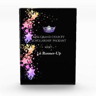 Miss America Purple Crown and Stars Acrylic trophy Award