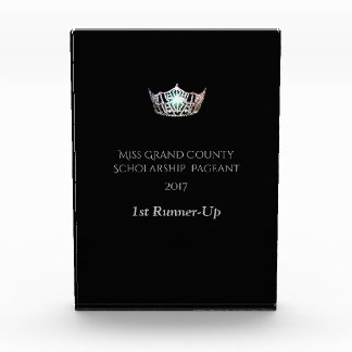 Miss America Rectangle Silver Crown Acrylic Award