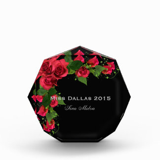 Miss America Red Roses Acrylic Award