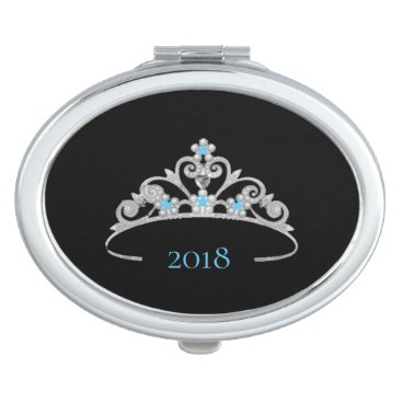 Hawaiian Themed Miss America Rodeo Silver Tiara Compact Mirror-DTE Compact Mirror