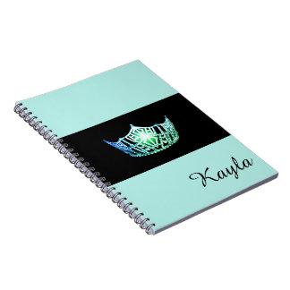 Miss America Sea Green Crown Notebook- Custom Name Notebook
