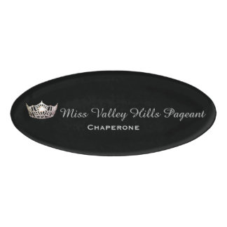 Miss America Silver Crown Oval Name Tag