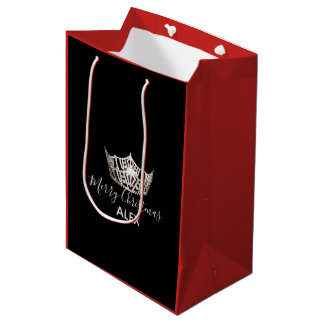 Miss America Silver Crown Red Gift Bag-Christmas Medium Gift Bag