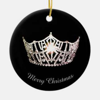 Miss America Silver Crown Round Ornament