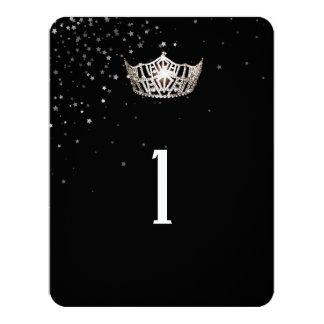 Miss America Silver Crown Table Number Card-Stars