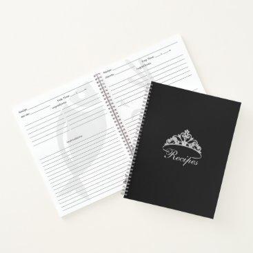 USA Themed Miss America Silver Tiara Custom Recipe Notebook