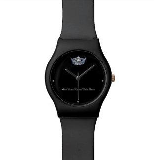 Miss America style Black Custom Name Watch
